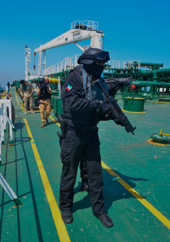 KUWAIT - Gulf Cooperation Council special operations forces conduct a simulated search and seizure of the hijacked oil tanker, the Hadiyah, April 3, in Kuwait territorial waters as part of exercise Eagle Resolve 2017. (U.S. Army Photo by Master Sgt. Timothy Lawn)