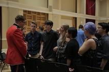 On April 2, 2017, members of the Marine Band and Marine Chamber Orchestra performed a chamber series concert in John Philip Sousa Band Hall at the Marine Barracks Annex. Following the concert, members spent time with students from North Oconee High School from Bogart, Ga. (U.S. Marine Corps photo by Gunnery Sgt. Rachel Ghadiali/released)