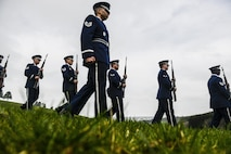 Honor guardsmen from Spangdahlem Air Base, Germany march during a ceremony to honor the Wereth 11 in Wereth, Belgium, March 24, 2017. The ceremony was held to recognize 11 African American soldiers, now known as the Wereth 11, who were tortured and executed by the Nazi SS, an elite guard, Dec. 17, 1944, in Wereth. (U.S. Air Force photo/Tech Sgt. Sara Keller)