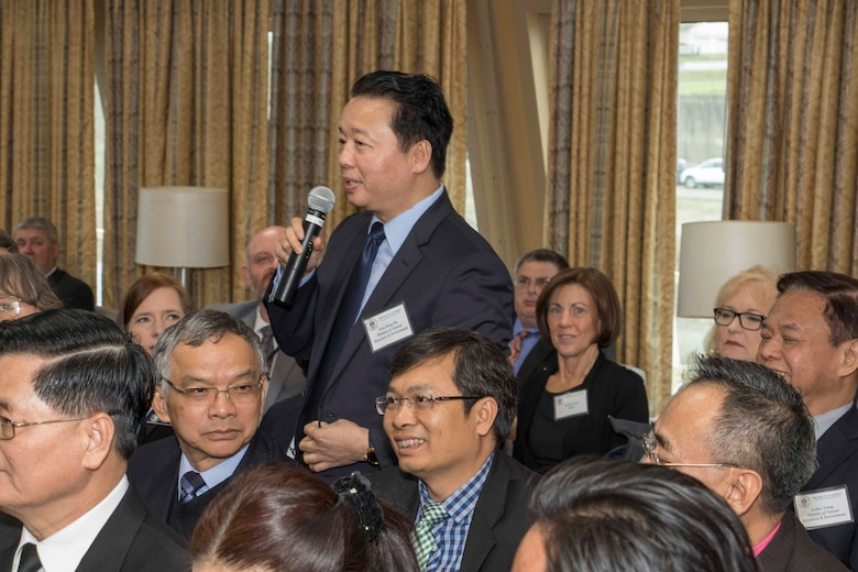 Dr. Tran Hong Ha, Vietnam's Minister of Natural Resource and Environment, addresses the Mississippi River Commission at their public meeting in Memphis, Tenn., aboard the Motor Vessel Mississippi.