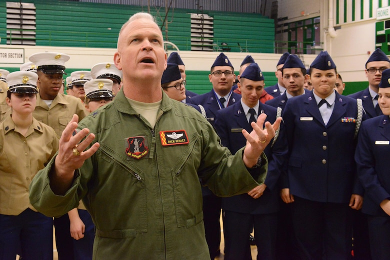 Brig. Gen. Drew Dehaes speaks to the cadets after the JROTC competition at North High School, Des Moines, Iowa on April 1, 2017. Dehaes congratulated them all on their hard work and success and encouraged them to do the same to their families and coaches. (U.S. Air National Guard photo by Airman Katelyn Sprott)