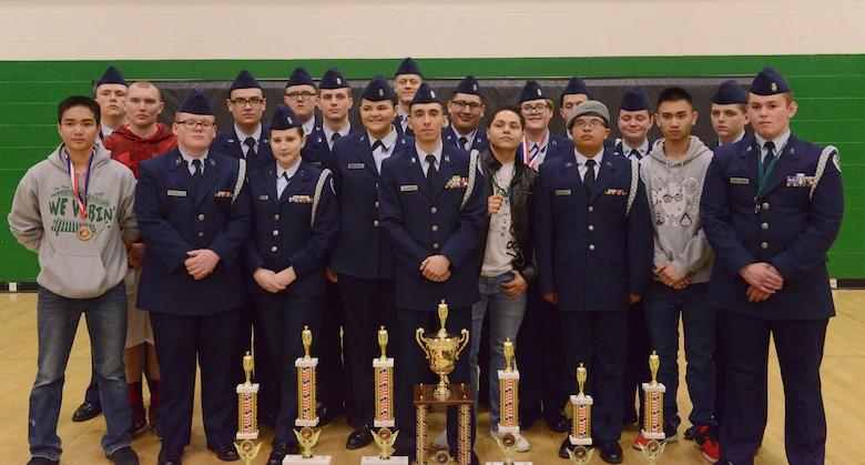 The Sioux City JROTC poses for a photo with their awards after the JROTC competition at North High School, Des Moines, Iowa on April 1, 2017. The Sioux City cadets worked hard throughout the day and succeeded in taking home second place. (U.S. Air National Guard photo by Airman Katelyn Sprott)