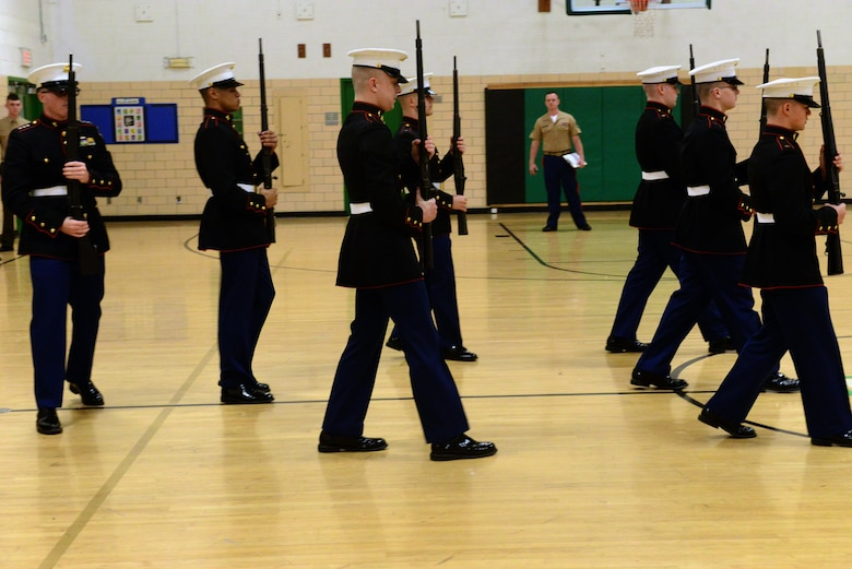 The North High JROTC performs their rifle drill portion of the JROTC competition at North High School, Des Moines, Iowa on April 1, 2017. The North High JROTC received many different awards for their outstanding performances during the day, including the rifle drill. (U.S. Air National Guard photo by Airman Katelyn Sprott)
