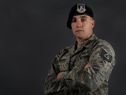 Tech. Sgt. Richard Bates, 47th Security Forces Squadron flight chief, was selected for promotion to Technical Sergeant under the Stripes for Exceptional Performers (STEP) program on Laughlin Air Force Base, Texas, April 1, 2017. Prior to this STEP promotion, Bates was also a Senior Airman Below-the-Zone recipient and a first-time staff sergeant select. (U.S. Air Force photo/Airman 1st Class Benjamin N. Valmoja)