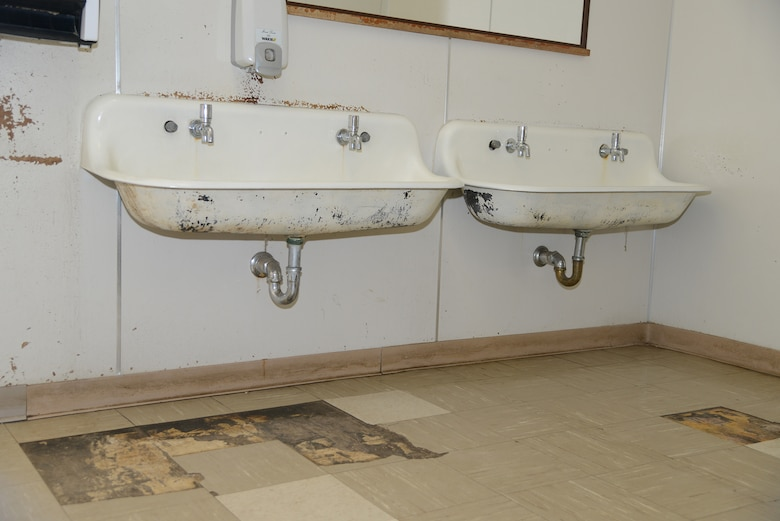 The girls' bathroom at Branch Elementary. (U.S. Air Force photo by Christopher Ball)