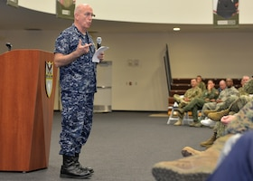 Navy Adm. Kurt W. Tidd, the commander of U.S. Southern Command, addresses an audience of Southcom staff during a commander's call at the command's Miami headquarters, Nov. 9, 2016. Southcom photo by Raymond Sarracino