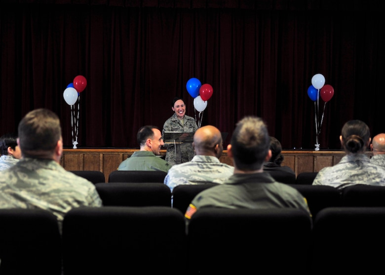 Master Sgt. Kelly Rodriguez, Air Force Assistance Fund primary installation project officer, speaks to members of Team McChord about AFAF at the campaign kick-off event, April 6, 2017 at the McChord Field Chapel Support Center. Donations received throughout the campaign go to charitable affiliates such as the Air Force Aid Society, Air Force Villages Charitable Foundation, the LeMay Foundation and the Air Force Enlisted Village, all of which support Airmen and their families. (U.S. Air Force photo/Staff Sgt. Whitney Amstutz)