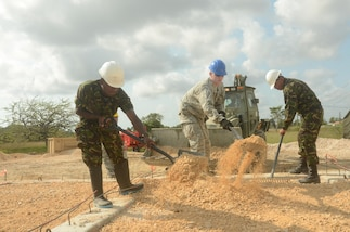 1st Lt. Hunter Peoples, an engineer with 672nd Engineer Company, an Army Reserve unit from Missoula, Montana, works on the foundation for a new clinic building at the Ladyville Health Clinic in Ladyville, Belize on March 29, 2017. The clinic is being built as part of Beyond the Horizon 2017 a partnership exercise between the Government of Belize and U.S. Southern Command that will consist of three free medical service events and five construction projects throughout Belize. (U.S. Army Photo by Sgt. Eric Roberts)