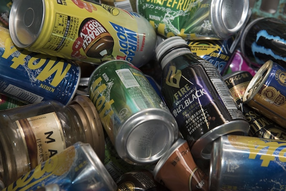 Various cans lay in a bin at Misawa, Japan, March 20, 2017. Cans are recycled for aluminum alloy saving energy, raw materials and waste pollution. Aluminum cans are salvaged over and over to help save on industrial costs. (U.S. Air force photo by Airman 1st Class Sadie Colbert)