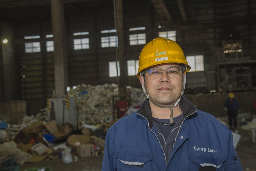Shimichi Chiba, recycling center manager, pauses for a photo at Misawa, Japan, March 20, 2017. Misawa Air Base's recycling center takes many items including paper, magazines, cardboard, aluminum, scrap metal, glass, plastic and car tires to assist in increasing Japan's raw metal storage to be reused for the country's infrastructure. (U.S. Air Force photo by Airman 1st Class Sadie Colbert)