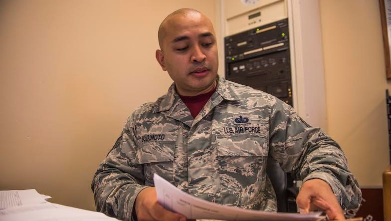 U.S. Air Force Staff Sgt. Jason Sugimoto, a food services supervisor from the 18th Force Support Squadron, reviews a production log for the upcoming weeks April 4, 2017, at the Johnson Flight Kitchen on Kadena Air Base, Japan. According to Sugimoto, being a part of the language enabled Airman program is a highly personal experience, leading to good relationships with senior-ranking individuals in both the Japanese and U.S. militaries. (U.S. Air Force photo by Senior Airman Nick Emerick/Released)