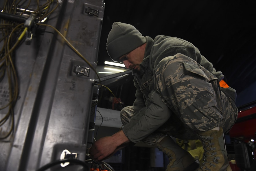 U.S. Air Force Tech. Sgt. Jesse Pickrell, Combat Shield crew lead, 16th Electronic Warfare Squadron, Eglin Air Force
