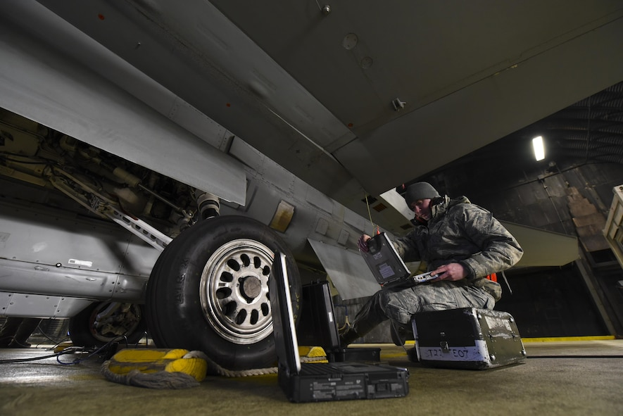Senior Airman Kyle Richert, 52nd Maintenance Squadron avionics journeyman, monitors diagnostics on an F-16 Fighting Falcon during an annual Combat Shield evaluation at Spangdahlem Air Base, Germany, March 23, 2017. A Combat Shield team visited Spangdahlem March 20-24 to evaluate the reliability of several F-16s' radar threat warning systems and countermeasures. (U.S. Air Force photo by Staff Sgt. Jonathan Snyder)