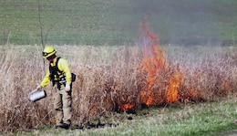 Fifteen Pennsylvania Game Commission Wildland Firefighters from Crawford, Venango and Mercer counties conducted a prescribed and controlled burn on U.S. Army Corps of Engineer land leased to them at Shenango Lake March 29.