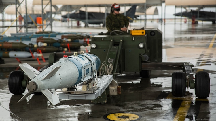 Ordnance sits on a loader during hot-reload training at Marine Corps Air Station Iwakuni, Japan, April 6, 2017. This signified the first time the squadron loaded ordnance onto a running F-35B Lightning II aircraft at the air station in order to prepare for real-world scenarios.