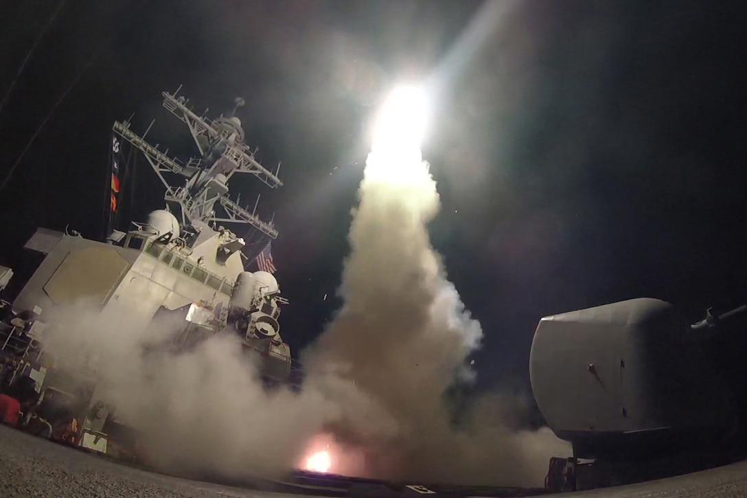 he guided-missile destroyer USS Porter conducts strike operations.