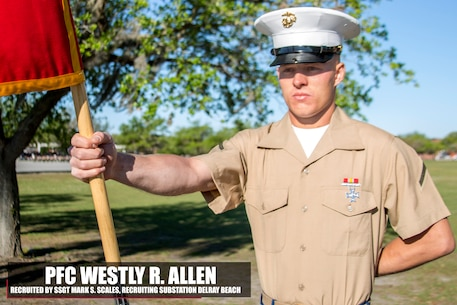 Private First Class Westly R. Allen graduated Marine Corps recruit training Apr. 7, 2017, aboard Marine Corps Recruit Depot Parris Island, South Carolina. Allen is the Honor Graduate of platoon 1020. Allen was recruited by Staff Sgt. Mark S. Scales from Recruiting Substation Delray Beach. (U.S. Marine Corps photo by Lance Cpl. Jack A. E. Rigsby/Released)