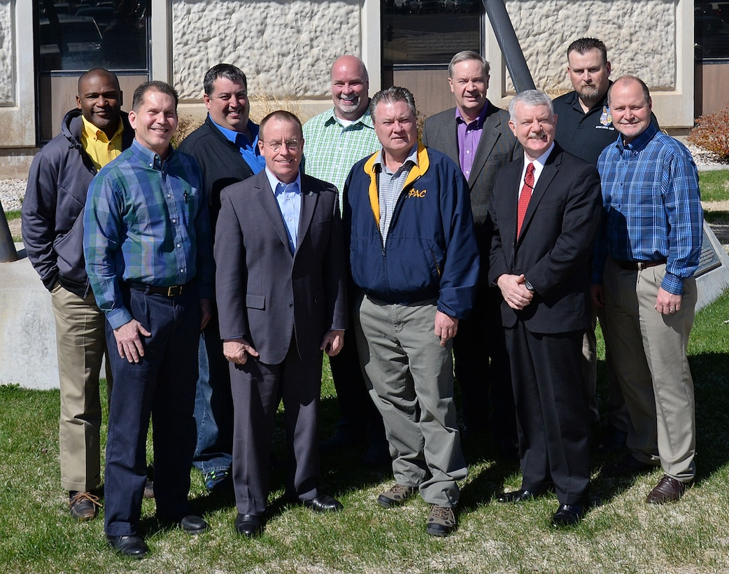 Representatives from AFMC and AFGE pose for a photo March 29 at Hill Air Force Base. AFMC and AFGE participated in their annual partnership council meeting March 29-30. Pictured are: Front row, left to right, Randy Shaw, AFMC/A1KL; Jeffrey Allen, AFSC/CA; Troy Tingey, President AFGE C214; David Robertson AFTC/CA; and Robert Good, AFMC/A1KL. Back Row, left to right, Sirron Bailey, President AFGE Local 2263; Ty Norton, Secretary-Treasurer, AFGE Council 214; Carl Dahms, President, AFGE Local 916; Doug Ebersole, AFRL/CA; and Kris Borders, President AFGE Local 1406. (U.S. Air Force/Alex R. Lloyd)