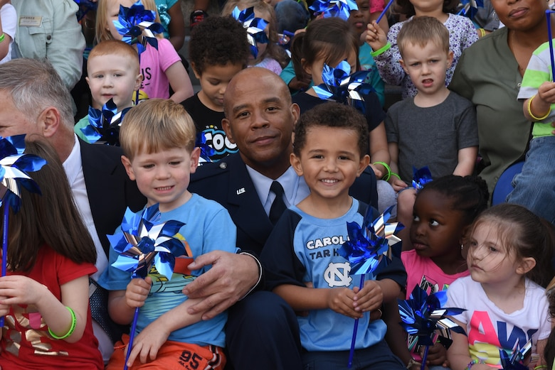 Col. Erik Jenkins, 916th Air Refueling Wing commander, represents Seymour Johnson Air Force Base at a Child Abuse Prevention Month Proclamation Ceremony, April 4, 2017, at Goldsboro City Hall, North Carolina. Children from Seymour Johnson and the local community showed their support by reading poems and singing songs during the ceremony. (U.S. Air Force photo by Airman 1st Class Victoria Boyton)