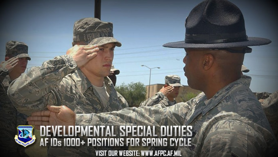 The Air Force has identified 10 DSDs for spring 2017 that create, develop and care for Airmen. Airmen nominated for developmental special duties must have a demonstrated record of exceptional performance and a high capacity to lead due to their unique leadership roles and the responsibility to mentor and mold young Airmen. (U.S. Air Force graphic by Kat Bailey)