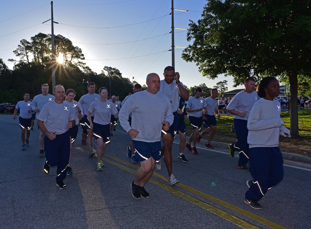 Air Commandos assigned to Headquarters Air Force Special Operations Command run together at Hurlburt Field, Fla., April 7, 2017. The group meets once a month to run a 5K. (U.S. Air Force photo/Staff Sgt. Melanie Holochwost)