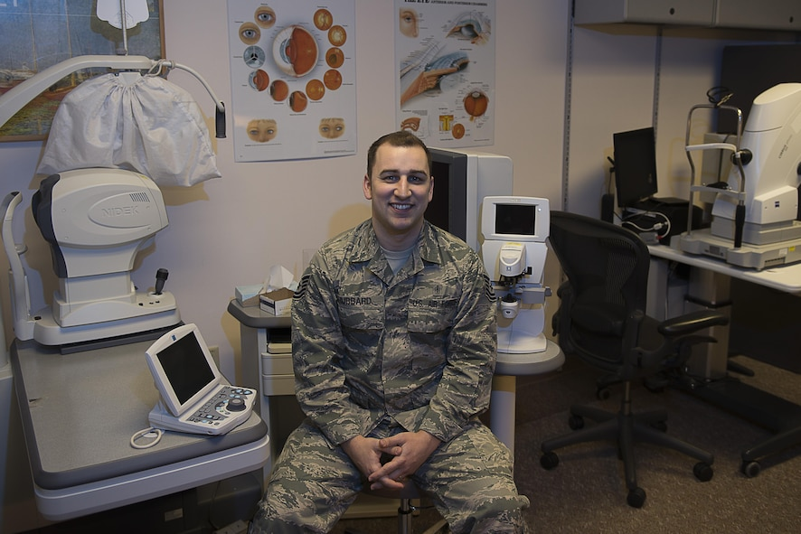 U.S. Air Force Tech. Sgt. Nicholas Hubbard, a 354th Medical Operations Squadron optometry technician, poses for a photo April 5, 2017, at Eielson Air Force Base, Alaska. Hubbard served in the Air Force for 11 years as an optometry technician. (U.S. Air Force photo by Airman Eric M. Fisher)