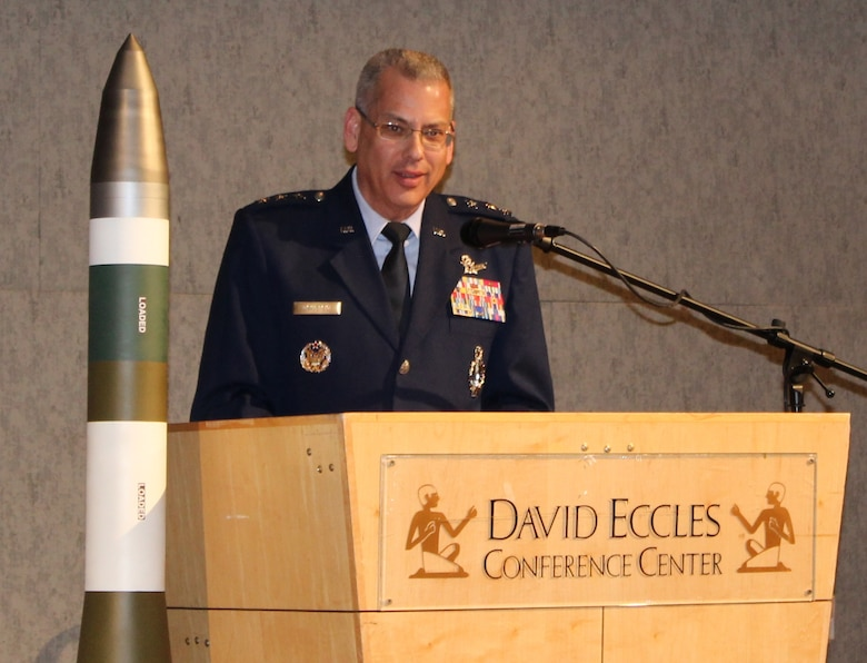 Lt. Gen. Jack Weinstein, deputy chief of staff for Strategic Deterrence and Nuclear Integration, Headquarters Air Force, Washington, D.C., addresses the audience during the 28th annual Air Force Association Brent Scowcroft Awards banquet at the Eccles Conference Center in Ogden, Utah. Two directorates within the Space and Missile Systems Center, Global Positioning Systems Directorate, and the Remote Sensing Directorates' Space Based Infrared Systems Team were recently honored with the AFA 2017 Brent Scowcroft Award for Space and Air Dominance Acquisition and Sustainment – Individual and Team awards, respectively. (Courtesy photo)