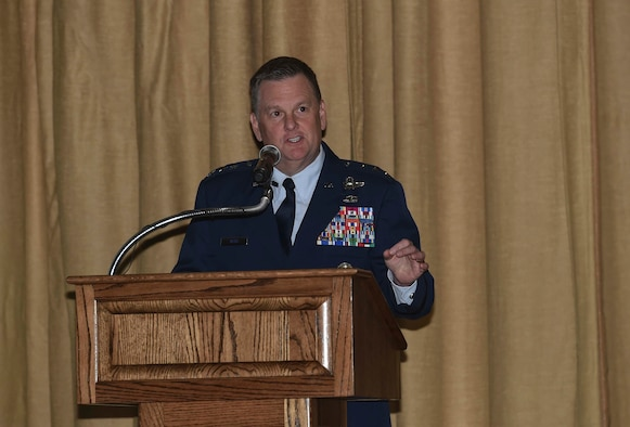 Lt. Gen. Brad Webb, commander of Air Force Special Operations Command, speaks during a Silver Star Medal presentation ceremony for Tech. Sgt. Brian Claughsey, a combat controller with the 21st Special Tactics Squadron, April 7, 2017, at Pope Army Airfield, N.C. Claughsey received the Silver Star Medal for his role in liberating Kunduz City from Taliban control and ensuring the safety of a 150 joint-coalition team during a 96-hour firefight. (U.S. Air Force photo by Senior Airman Ryan Conroy)