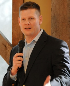 Army Col. Martin F. Klein, deputy commander of Joint Base McGuire-Dix-Lakehurst and commander of Army Support Activity, Fort Dix, delivers remarks during the Ocean County Military Support Committee's community support event for Joint Base McGuire-Dix-Lakehurst April 5 at the Laurita Winery in New Egypt, New Jersey. The Ocean County Military Support Committee consists of business leaders, community partners and local government officials who share a common goal to provide a broad spectrum of support to military neighbors and JBMDL.