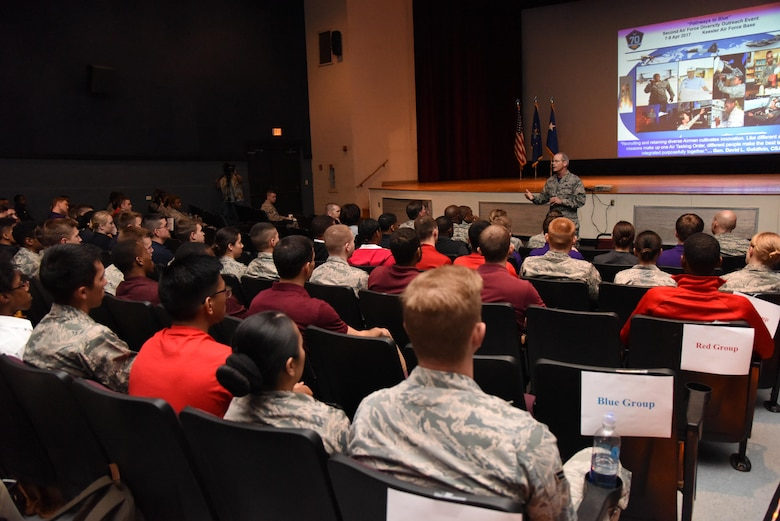 Maj. Gen. Bob LaBrutta, 2nd Air Force commander, welcomes Air Force ROTC cadets here during Pathways to Blue at the Welch Theater April 7, 2017, on Keesler Air Force Base, Miss. Pathways to Blue, a diversity outreach event hosted by 2nd Air Force, provided 178 cadets from seven detachments a chance to interact with officers from 36 different specialties from across the Air Force. (U.S. Air Force photo by Kemberly Groue)