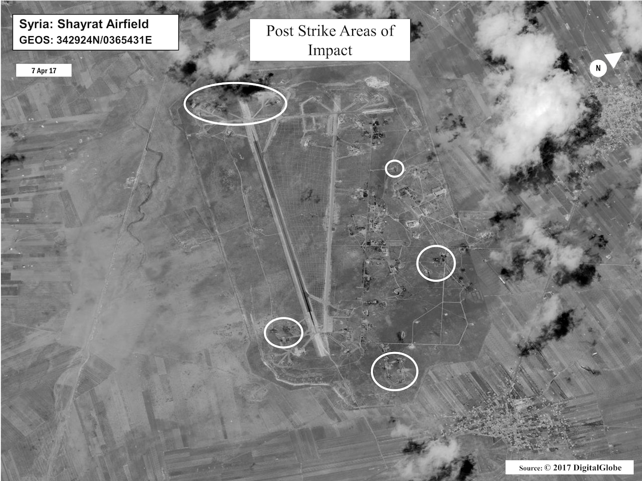 A battle damage assessment image of Shayrat Airfield, Syria, following U.S. missile strikes delivered by the USS Ross and USS Porter Arleigh Burke-class guided-missile destroyers, April 6, 2017. The U.S. fired 59 Tomahawk missiles into Syria in retaliation for Syrian President Bashar Assad regime's use of nerve agents to attack his own people. Courtesy photo
