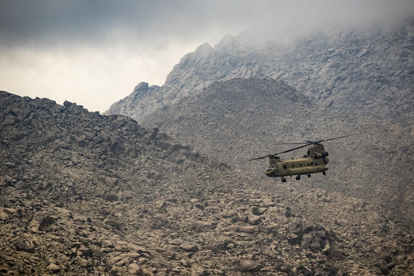 Army CH-47 Chinook helicopter pilots fly near Jalalabad, Afghanistan, April 5, 2017. The pilots are assigned to the 7th Infantry Division's Task Force, 16th Combat Aviation Brigade.The unit is preparing to support Operation Freedom's Sentinel and Resolute Support. Army photo by Capt. Brian Harris