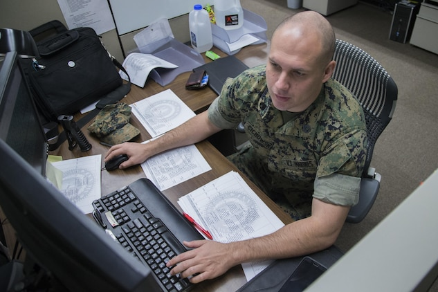 U. S. Marine Corps Staff Sgt. Richard Cichowski, systems analyst, performs an audit on the finances of every Marine Corps office to ensure that all systems are up to date at the Disbursing Office on Camp Pendleton, Calif., April 4, 2017. (U.S. Marine Corps photo by Lance Cpl. Betzabeth Y. Galvan)
