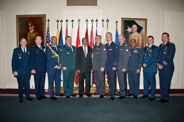 Air Force Chief of Staff Gen. David L. Goldfein honors international Air Chiefs inducted into the Air University International Honor Roll, April 7, 2017. The officers inducted during today's ceremony were honored with a plaque in the International Officer School's Honor Roll Room. (US Air Force photo by Melanie Rodgers Cox)