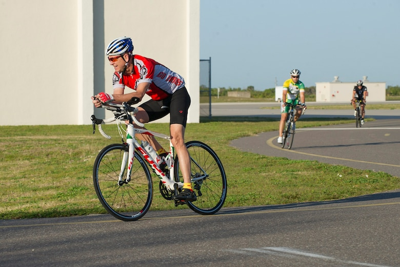 Brig. Gen. Wayne Monteith, 45th Space Wing commander, participates in a Cape Canaveral Air Force Station bike tour, emphasizing that fitness and a healthy lifestyle are essential to being a well-rounded Airman March 30, 2017. (U.S. Air Force photo/Phil Sunkel)