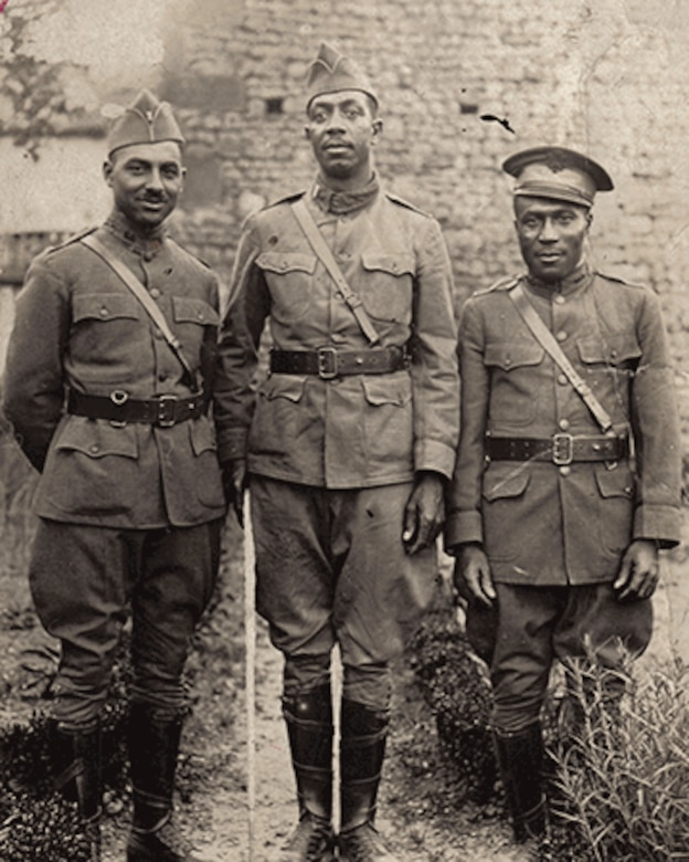 Officers of the 2nd Battalion, 372nd Infantry in France: 2nd Lt. Tom Walker (from left), 1st Lt. Ben Rudd and 2nd Lt. William Nichols. The 372nd was a segregated unit that earned the French Croix de Guerre with Palm during the Meuse-Argonne campaign for its heroic actions in battle. April 6, 2017, commemorates the 100th anniversary of the U.S. entry into World War I.