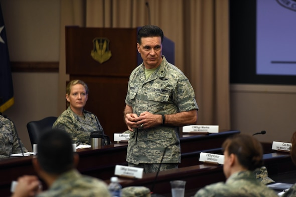 Brig. Gen. Sean Murphy, the Command Surgeon for Air Combat Command, addresses military treatment facility leadership from across ACC on the importance of Trusted Care during the 2nd Annual Military Treatment Facility Leadership Conference at Joint Base Langley-Eustis, Virginia, April 5, 2017. Trusted Care is a patient-centered, safety-first concept which charges MTFs to become High Reliability Organizations. (U.S. Air Force photo by Jennifer Spradlin, Air Combat Command Public Affairs)