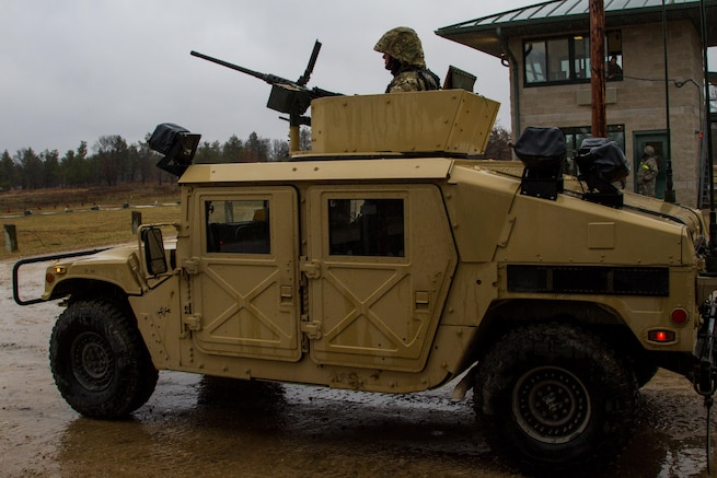 A tactical vehicle mounted with an M2 .50 caliber machine gun is staged and ready to proceed to a live fire exercise at Range 26 on Fort McCoy, Wis., during Operation Cold Steel, April 03, 2017. Operation Cold Steel is the U.S. Army Reserve's crew-served weapons qualification and validation exercise to ensure that America's Army Reserve units and Soldiers are trained and ready to deploy on short-notice and bring combat-ready, lethal firepower in support of the Army and our joint partners anywhere in the world. (U.S. Army Reserve photo by Spc. Jeremiah Woods, 358th Public Affairs Detachment / Released)