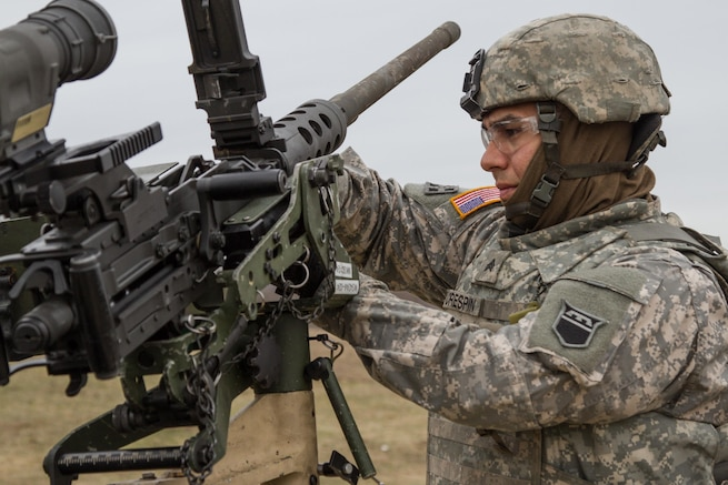 US Army Reserve Sgt. Gregory Crespin, a wheeled vehicle mechanic with the 277th Quartermaster Company, 76th Operational Response Command, makes adjustments to an M2 .50 caliber machine gun in preparation for qualification as part Operation Cold Steel at Fort McCoy, Wis., April 2, 2017. The 76th ORC is the Army Reserve's center for Defense Support of Civil Authorities, coordinating support to state and local officials, first responders and other federal agencies during emergencies or natural disasters. Operation Cold Steel is the U.S. Army Reserve's crew-served weapons qualification and validation exercise to ensure that America's Army Reserve units and Soldiers are trained and ready to deploy on short-notice and bring combat-ready, lethal firepower in support of the Army and our joint partners anywhere in the world. (U.S. Army Reserve photo by Spc. Jeremiah Woods, 358th Public Affairs Detachment / Released)