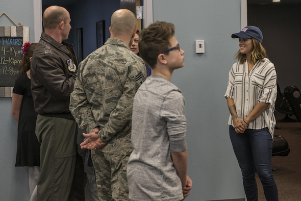 U.S. Air Force Col. Todd Robbins, the 354th Fighter Wing (FW) vice commander, and Chief Master Sgt. Brent Sheehan, the 354th FW command chief, meet with Cassadee Pope April 8, 2017, at the USO on Eielson Air Force Base, Alaska. Robbins and Sheehan talked to Pope about the new Eielson USO facility, and the positive contributions it has made to the Iceman team and their family members. (U.S. Air Force photo by Airman 1st Class Cassandra Whitman)