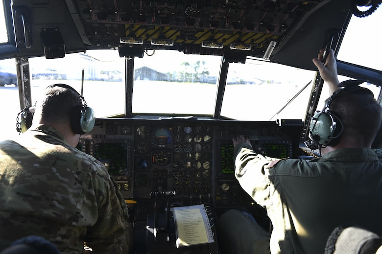 Master Sgts. Gregory Dedicke, left, and Clayton Slater, special missions aviators with the 15th Special Operations Squadron, conduct pre-flight checks in an MC-130 Combat Talon II at Hurlburt Field, Fla., April 7, 2017. Pre-flight inspections are accomplished to check for any issues that may interfere with the flight mission and ensure aircraft are ready to execute operations. (U.S. Air Force photo by Airman 1st Class Joseph Pick)