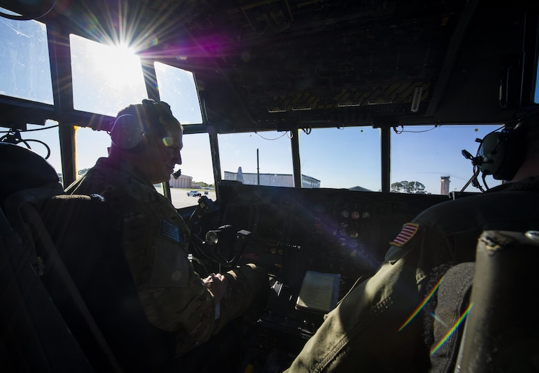 Master Sgt. Gregory Dedicke, a special missions aviator with the 15th Special Operations Squadron, conducts pre-flight checks in an MC-130 Combat Talon II at Hurlburt Field, Fla., April 7, 2017. Special missions aviators perform pre-flight inspections of aircraft, monitor engines and check other critical flight systems during flights. (U.S. Air Force photo by Airman 1st Class Joseph Pick)