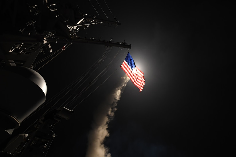 The guided missile destroyer USS Porter conducts strike operations against a target in Syria while in the Mediterranean Sea, April 7, 2017. The Porter conducted naval operations in the U.S. 6th Fleet area of operations in support of U.S. national security interests. Navy photo by Petty Officer 3rd Class Ford Williams