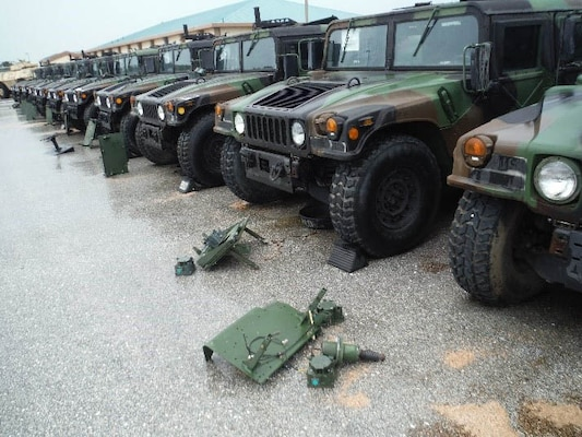 Guam staff members are receiving 35 M-series Humvees from the 368 Military Police Battalion to complete the turn-in process.