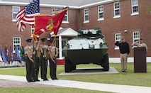 Color guard Marines with 2nd Light Armored Reconnaissance Battalion, 2nd Marine Division perform during a memorial ceremony at Camp Lejeune, N.C., April 7, 2017. The ceremony honored fallen Marines as well as families and friends of the 2nd LAR community. (U.S. Marine Corps photo by Lance Cpl. Raul Torres)