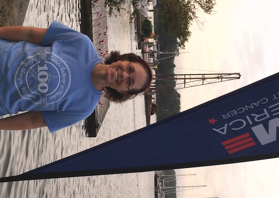 BALTIMORE, Md. (Sept. 18, 2016) - Karen Wingeart - the 2016 Naval Sea Systems Command (NAVSEA) Women Moving Forward Award winner - is pictured at Swim Across America where she swam to raise funds in support of the fight against cancer. NAVSEA Commander Vice Adm. Thomas Moore announced Wingeart as the award winner in an April 2017 communiqué to NAVSEA employees based at Navy warfare centers and shipyards across the country. The Women Moving Forward award recognizes the contributions of individuals who promote equal opportunity in the workforce and continually make significant positive impacts to the command's mission and readiness. Wingeart - the Navy's expert on Cooperative Engagement Capability systems for Ship Self-Defense Systems - has been a part of the Swim Across America Open water Swim in Baltimore for five years.
