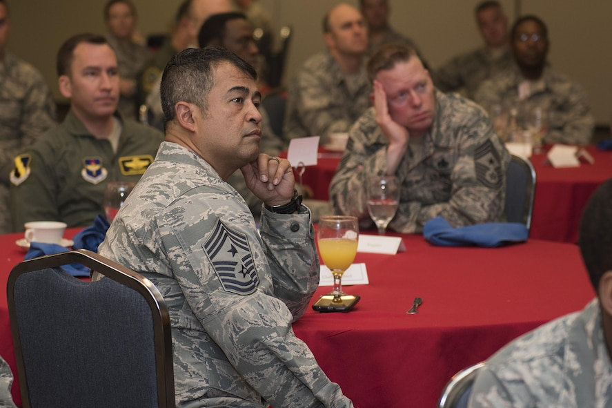 Chief Master Sgt. Joseph Pritchard, 82nd Training Wing command chief, listens to guest speakers share their stories during the Annual Air Force Assistance Fund kickoff breakfast at Sheppard Air Force Base, Texas, April 10, 2017. The contributions made to the AFAF Campaign help Airmen, families and retirees by providing services such as support for emergency needs, educational assistance and family support to include comfort to Air Force widows. (U.S. Air Force photo by Staff Sgt. Kyle E. Gese)