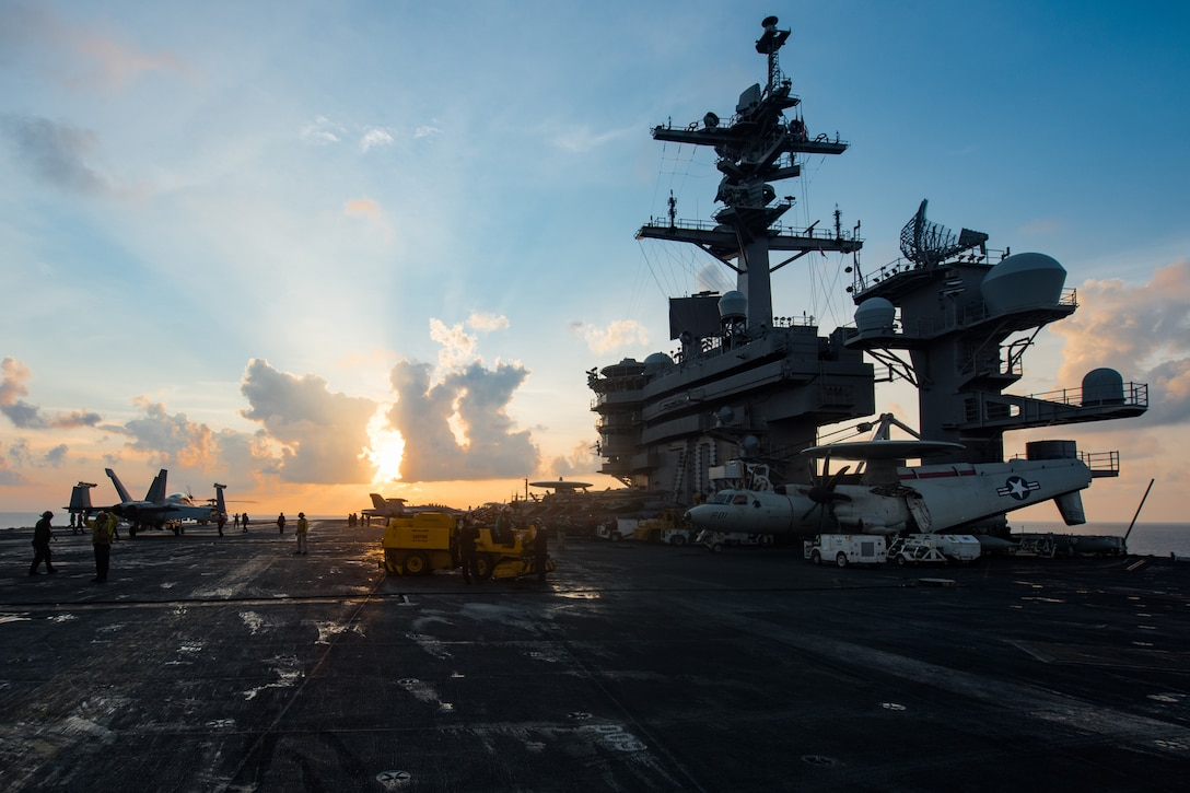 The aircraft carrier USS Carl Vinson travels in the South China Sea.