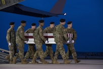 A U.S. Army carry team transfers the remains of Army Staff Sgt. Mark R. De Alencar of Edgewood, Md., April 10, 2017, at Dover Air Force Base, Del. De Alencar was assigned to the 1st Battalion, 7th Special Forces Group (Airborne), Eglin Air Force Base, Fla. (U.S. Air Force photo by Senior Airman Aaron J. Jenne)