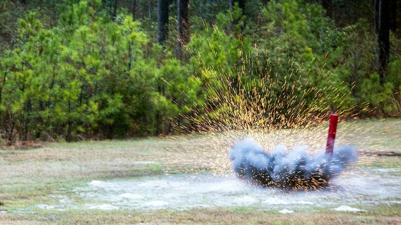 An M67 fragmentation grenade explodes after being thrown by a Marine during a grenade range at Marine Corps Base Camp Lejeune, N.C., March 31, 2017. The training built Marines' confidence in employing the weapon system prior to starting their pre-deployment package for the 26th Marine Expeditionary Unit. The Marines are with 2nd Reconnaissance Battalion.